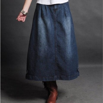 Free Shipping Plus Size XXL Fashion New Denim Long Mid-calf Skirts For Women Vintage A-Line Casual Skirts Spring Jean Skirts XL free shipping 2020 new fashion wool elegant long mid calf women skirts pencil s xl high waist autumn and winter striped skirts