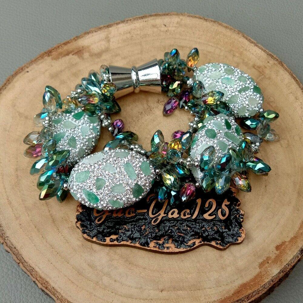 8 3 Strands Green Crystal Bracelet Pave Aventurine Beads8 3 Strands Green Crystal Bracelet Pave Aventurine Beads