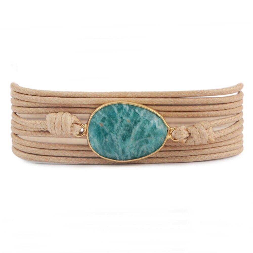 Dropshipping Wrap Bracelets Natural Stones Charm 5 Times Friendship Bracelet Boho Bracelet Homme Geniue Amazonite Handmade Cuff