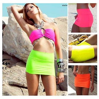 women sexy candy color mini skirt hot beach tight short fitted