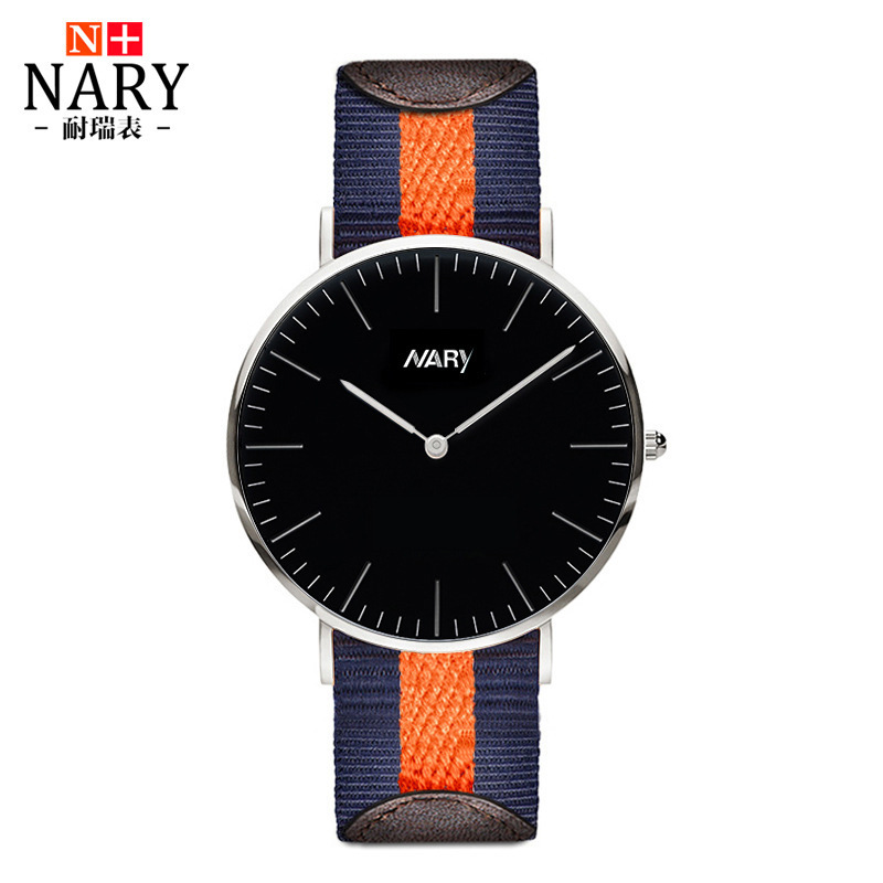 Best Quality Nary Brand WATCH 41mm For Men Women Ultrathin Silver Dial Nylon Leather Montre Femme