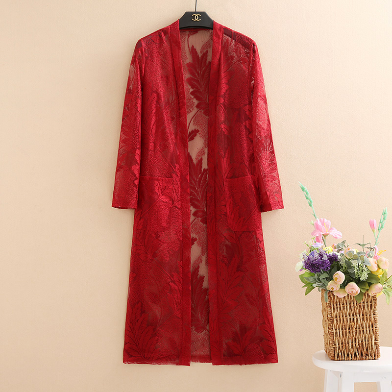 2019 summer new long lace shawl coat hook flower hollow sunscreen clothing air conditioning shirt female long sleeve thin coat in Jackets from Women 39 s Clothing