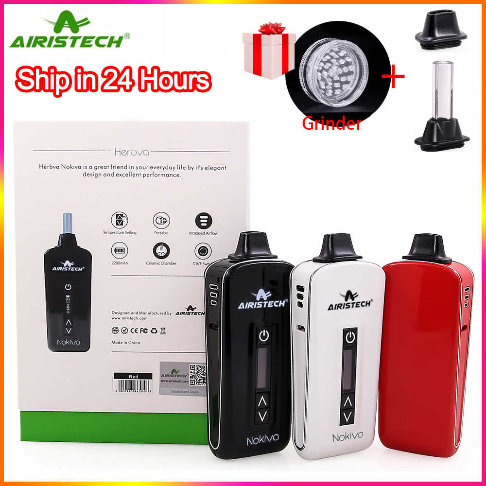 In Stock!! Original airistech Nokiva dry herb vaporizer 2200mah Ceramic Chamber Heating Electronic Cigarette Kit Herbal Vape Pen