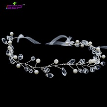 SEP Lace Classic Rhinestone Crystals Soft Headband Hair Chains Head Chain Bride Wedding Hair Jewelry Accessories HB1014