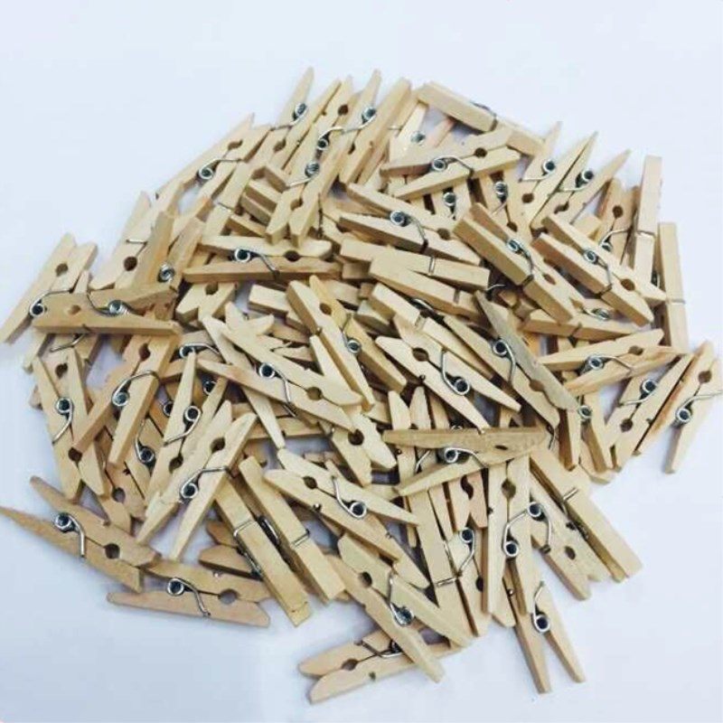 50pcs Natural  Mini Small Wooden Clips For Photo Clips Clothespin Decoration Craft  Clips   Size 25mm V1765