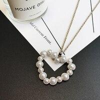 Beles Big Heart Pearl Alloy Long Necklace Women Czech Diamonds Chocker Jewellery Set Friendship Necklaces & pendants Jewelry