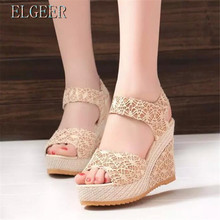 New 2018 Summer Wedges Sandals Thick crust Waterproof Lace Shoes Hollow Fish mouth High-heeled