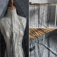 בדרגה גבוהה 1 חצר Lace14 גלים שחורים נקודות רקמת חוט נטו תחרה למתוח בד בד מעצב עבור שמלת גזה בגדי וילון