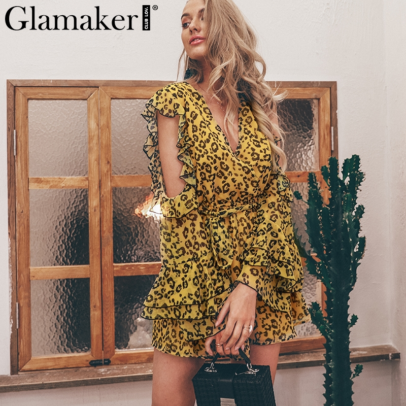 Glamaker Leopard chiffon sexy playsuit Women cold shoulder elegant overalls Flare Sleeve party summer short   jumpsuits   & rompers