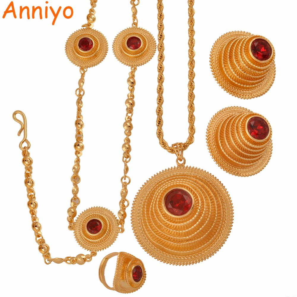 Anniyo High Quality Ethiopian Jewelry sets Necklace/Earring/Ring/Head Chain for Women African Eritrean Wedding Gifts #047811 anniyo good quality habesha ethiopian gold color necklace earrings ring hair chain jewelry sets african wedding gifts 047611