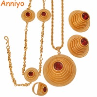 Anniyo High Quality Ethiopian Jewelry sets Necklace/Earring/Ring/Head Chain for Women African Eritrean Wedding Gifts #047811