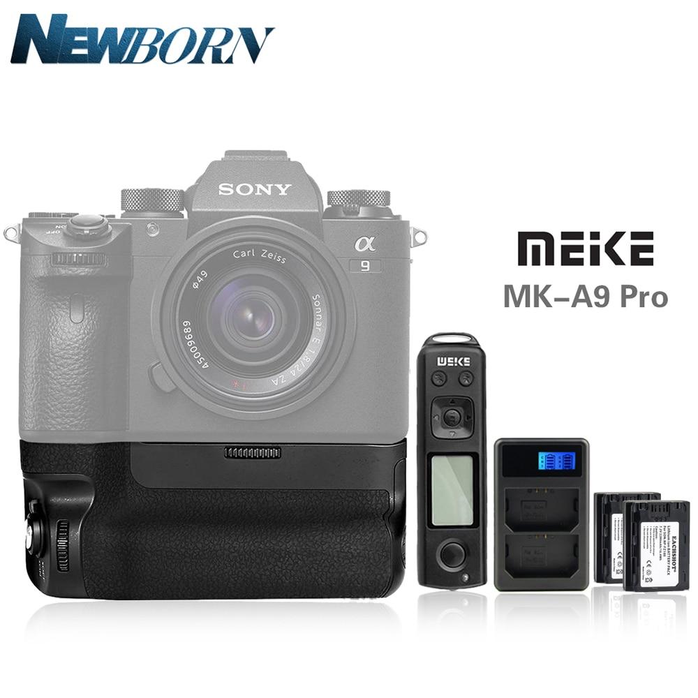 Meike MK-A9 batería PRO Kit para Sony A9 A7R III A7 III Meike MK-A9PRO y LCD cargador de batería Doble Y NP-FZ100 Bettery para Sony