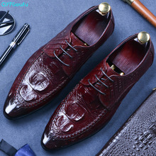 QYFCIOUFU Genuine Leather Mens Dress Shoes Pointed Toe 2019 Italian Oxfords Crocodile Pattern Cow Leather Formal Shoes Lace Up