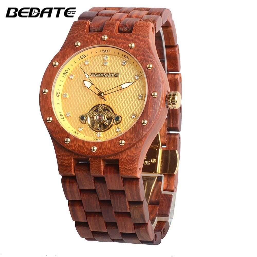 BEWELL Top marque de luxe D'affaires mécanique mens montres Lumineux Pointeurs horloge pointeur montre-bracelet Automatique bois Relogio 131C