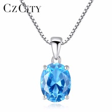 лучшая цена CZCITY Sky Blue Topaz Stone Pendant 2.3 Carat Oval Shape Solitaire Natural Topaz 925 Sterling Silver Chain Necklace for Women