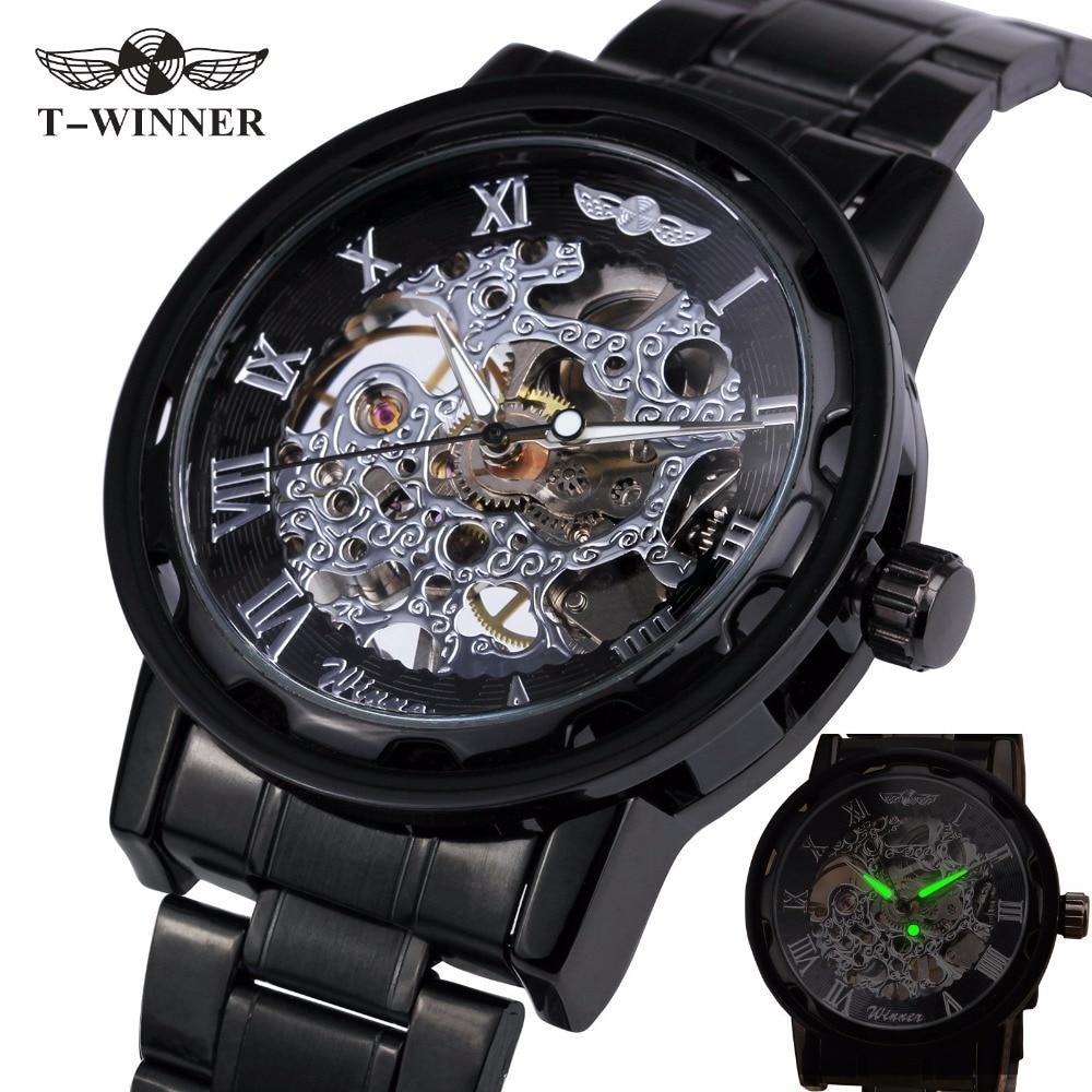 HOT Classic Vintage Luxury Business Steampunk Roman Mens Skeleton Mechanical Watch Black Metal Strap Roman Dial Lover Gift+ BOX