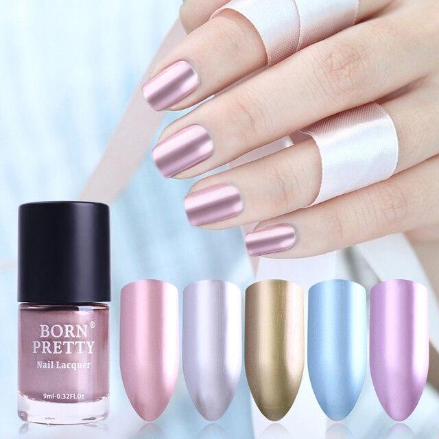 Nacido bonito efecto espejo metálico uñas metal oro rosa púrpura ...