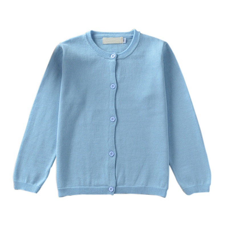 Spring Autumn Cotton Outerwear Children Clothing Baby Boys Girls Pure Color Knitted Cardigan Sweater Kids Winter