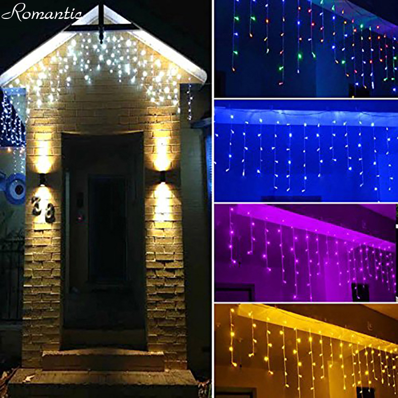 Led 504m 06m 08m white icicle lights curtain fairy light outdoor led 504m 06m 08m white icicle lights curtain fairy light outdoor home christmas garland string lighting weddings living room in lighting strings from aloadofball Image collections