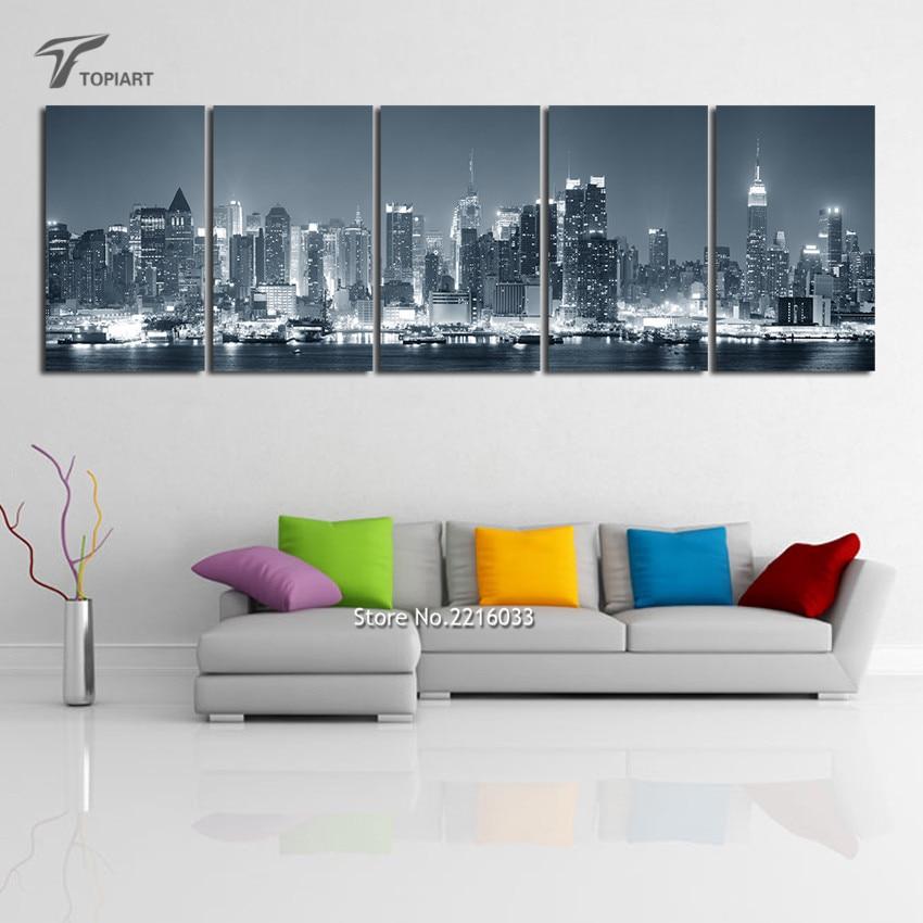 new york cityscape canvas print wall art multi panel decor new york night skyline photography - Cheap Canvas Wall Art
