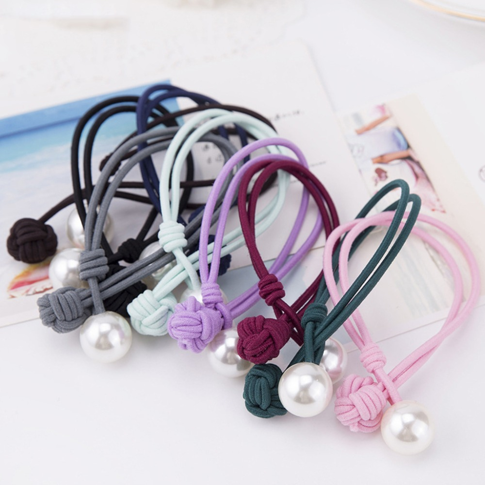 Women Girls Elastic Double Rubber Band Handmade Chinese Knot Hair Rope Faux Pearl Small Circle Button Ponytail Holder Accessory