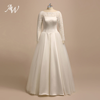 AW A Line Princess Wedding Dress Scoop Neck Floor Length Bridal Dress With Long Sleeves