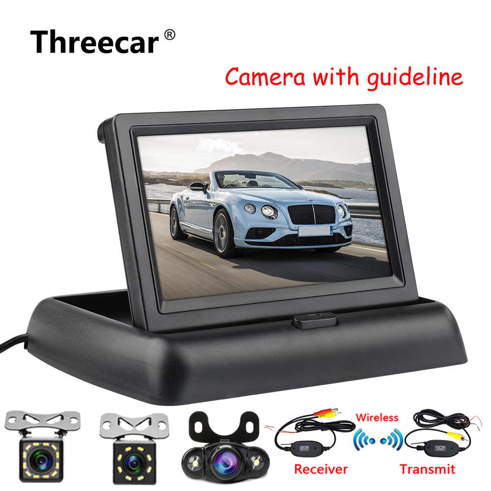 Car-Rear-View-Monitor Vehicle Tft-Display Foldable Reversing Backup LCD HD with Night-Vision