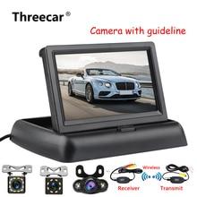 4,3 дюймов HD Складной автомобильный монитор заднего вида Реверсивный ЖК-дисплей TFT с камерой заднего вида ночного видения для автомобиля