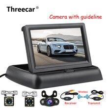 4,3 дюймов HD складной заднего вида Мониторы Реверсивный ЖК дисплей TFT дисплей с ночное видение резервного копирования камера для автомобиля