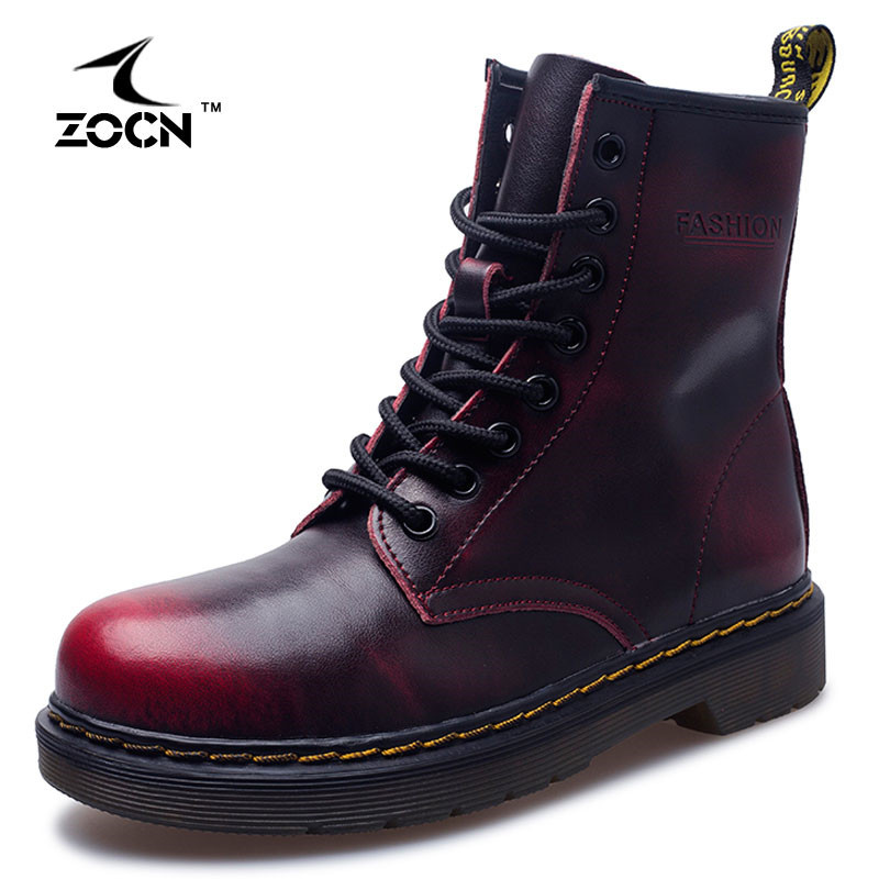 ФОТО ZOCN Unisex Martin boots Genuine Leather Ankle Boots 2016 Autumn Winter for Women Winter Boots Zapatos Hombre Plus Size 35-44