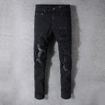Fashion Designer Men Jeans Black Color Slim Fit Elastic Ripped Jeans Men Destroyed Leather Patch Streetwear Hip Hop Jeans fashion designer men jeans black color slim fit elastic ripped jeans men destroyed leather patch streetwear hip hop jeans