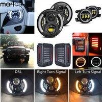 Marloo 6 шт./компл. 7 дюймов светодиодные фары + 4 передний бампер противотуманные фары + для Jeep Led Фонарь для Jeep Wrangler JK JKU Rubicon