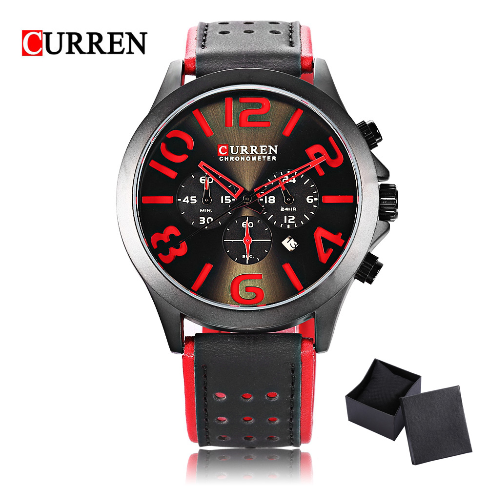 2018 New CURREN Men Watch Sport Squartz Watch Three Working sub-dials Waterproof Relogio Feminino Genuine Leather Clock Men curren 8138 men s dual display watch with leather band 3 sub dials