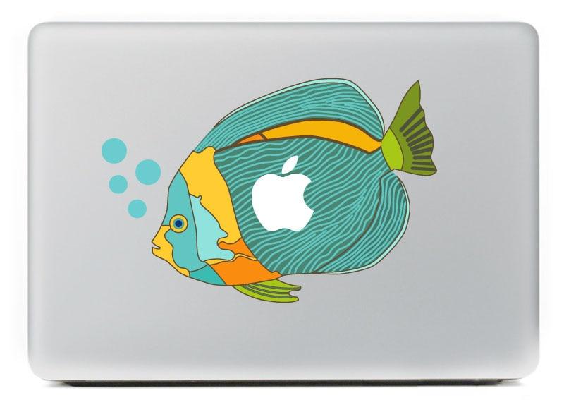 Cute blue tropical fish spit bubbles Vinyl Decal Sticker for DIY Macbook Pro / Air 11 13 15 Inch Laptop Case Cover Sticker