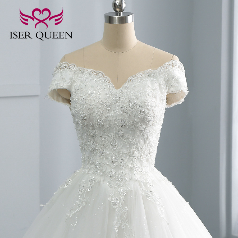 Cap Sleeve Vestido De Noiva Pure White Wedding Dress 2019 Lace Appliques Pearls Beaded Bride Dress Wedding Gown  Gelinlik WX0108