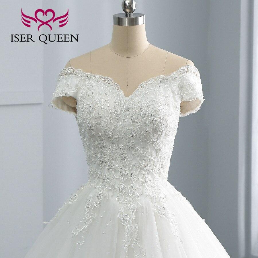 Cap Sleeve Vestido De Noiva Pure White Wedding Dress 2020 Lace Appliques Pearls Beaded Bride Dress Wedding Gown  Gelinlik WX0108