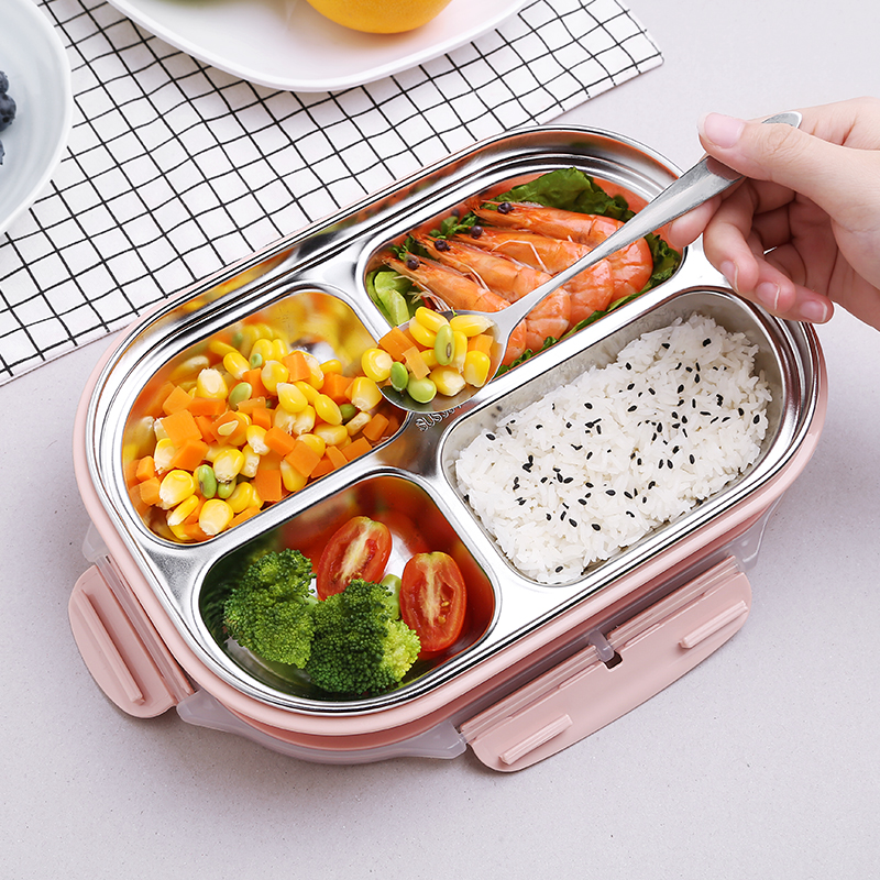 Thermal Food Container Lunch Box 304 Stainless Steel 4 Grids / 5 For Kids Heated Bento Portable Picnic Storage CJ60021