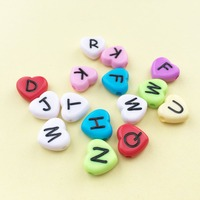Factory Price Acrylic Love Heart Letters Beads Mixed Solid Colors DIY Jewelry Plastic Spacer Alphabet Initial Bracelet Bead