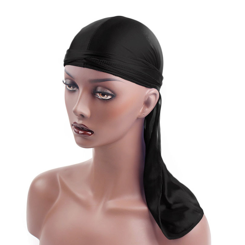 Haimeikang New <font><b>Silk</b></font> Long Tail Scarf Cap <font><b>Men's</b></font> Satin <font><b>Durags</b></font> Bandanna Turban Wigs <font><b>Men</b></font> Silky Durag Headwear Pirate Hat image