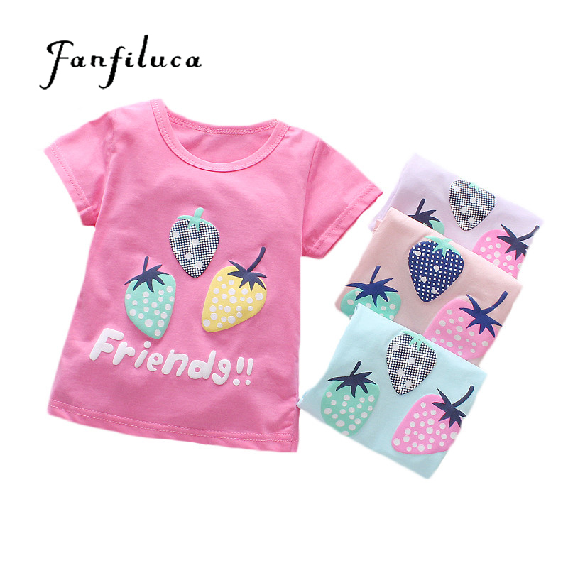Fanfiluca Baby Girl T Shirts Strawberry Pattern T-shirt Summer Short Sleeve T-Shirts Cotton Baby Girl Clothes color block panel short sleeve novelty t shirts