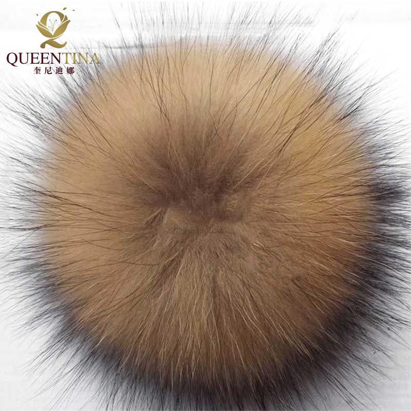 100% Real Pele De Guaxinim Pompons Bola Chapéus de Pele para o Inverno para As Mulheres Caps Rodada Bola Pele De Guaxinim Natural para a Corrente Chave acessórios