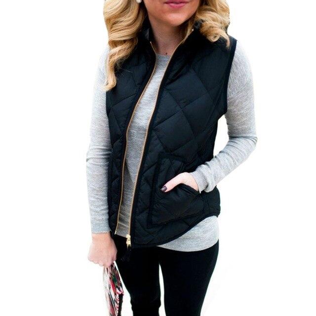 3344cf4ac97 Women Zipper Jacket Coat Sleeveless Vest Outerwear Coats Lightweight Warm  Cotton Autumn Winter Short Stand Collar