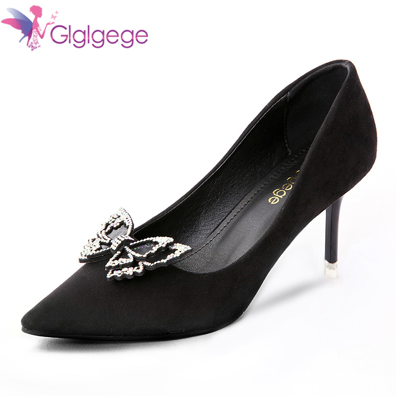 Glglgege Luxury Diamond Pumps Strap Pointed Toe Crystal  Pink Designer Women 2018 Shoes High Heels Scarpin Pumps For party Gift basic pump