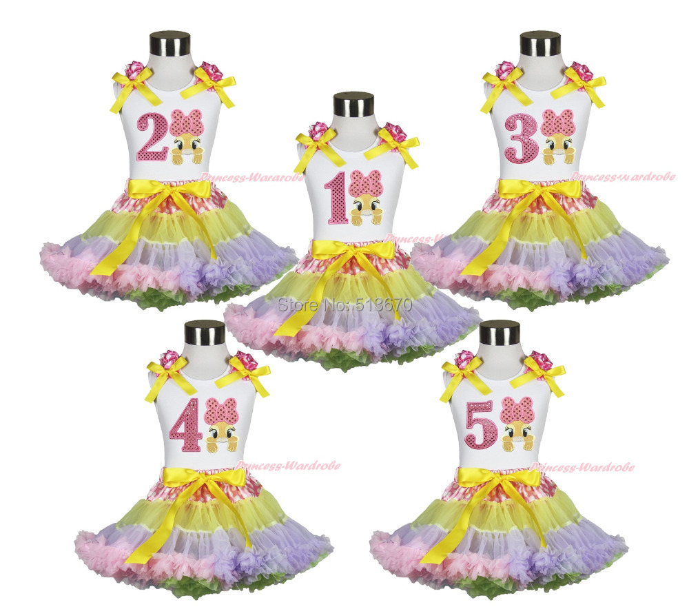 ФОТО Easter White Top Pink Bow Bunny 1ST 2ND 3RD 4TH 5TH Birthday Dot Rainbow Skirt 1-8Y MAPSA0427