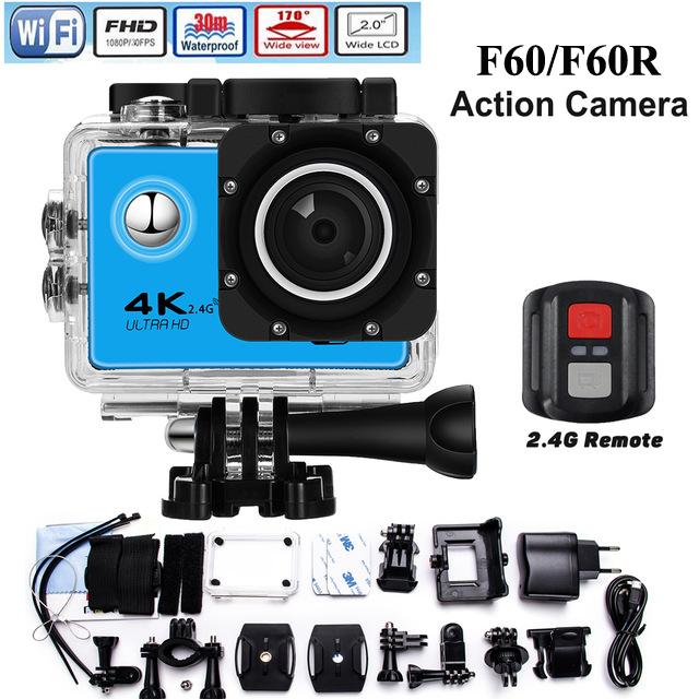 Prix pour Mllse 4 K Sport Caméra F60/F60R Wifi Full HD 1080 P 30 m Étanche Plongée Action Caméra avec Cam accessoires pour aller pro/sj4000