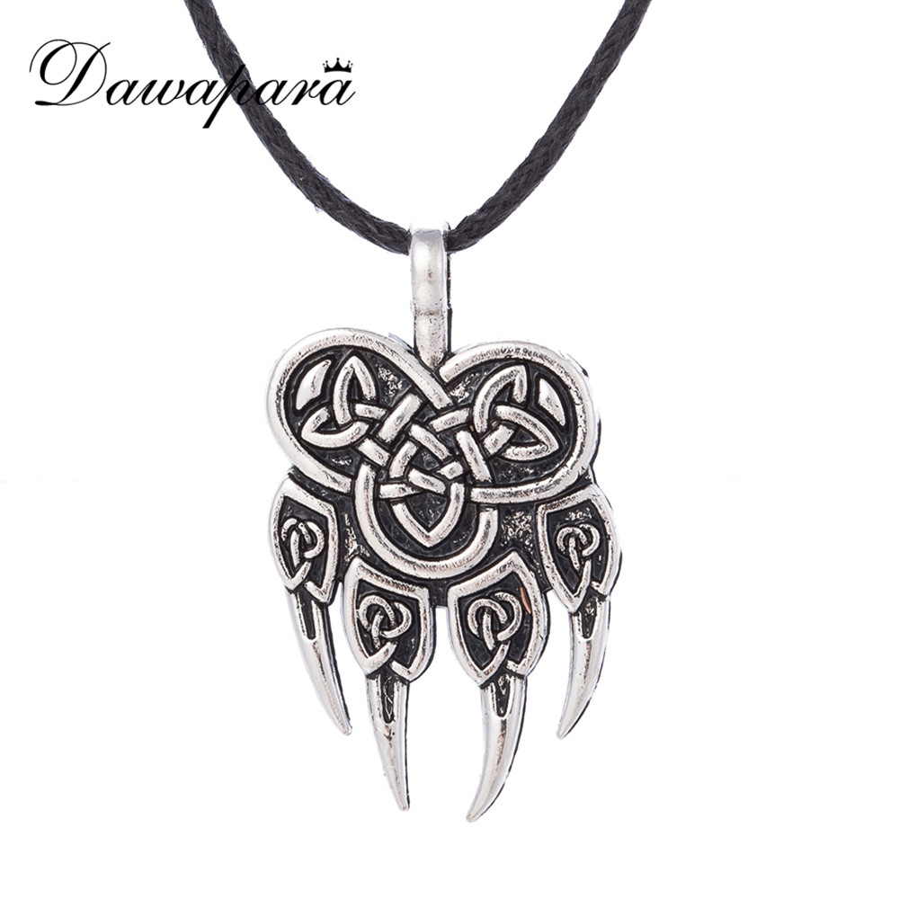 Dawapara Slavic Pendant Necklace Veles God Symbol Warding Bear Paw Talisman Amulet Viking Jewelry Men Religious Charms Necklace