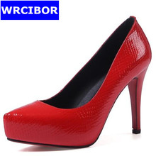 2017 Womens Pumps Genuine leather thin heels Platform Stiletto Red Bottom High Heels Red pointed toe platform pumps Party Shoes
