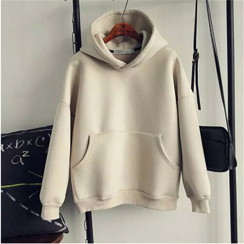 2016 Deerskin Suede Fabric With A Loose Hood Outerwear All-match O-neck Pullover Sweatshirt Female