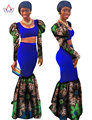 2017 African Bazin Dresses Designers Dashiki Plus Size Women  Maxi Mermaid Dresses Set Clothing Tops and Long Skirt WYR853