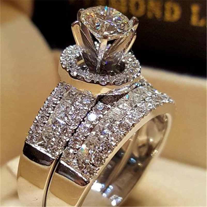 Real S925 Sterling Sliver Wedding Diamond Ring Set Round Bague Diamond Ring Peridot Bizuteria Topaz Gemstone 925 Jewelry Ring